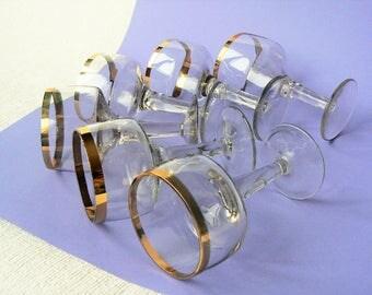 6 SHOT Glasses Vintage/ Shot Vodka Glasses, Set of 6/ Glasses on Leg with Gold Rim/ Vintage Drinks Serving/ Latvia 1980s