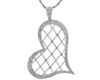 0.62 Carat Round Cut Diamond Heart Pendant on Singapore Link Chain 14K White Gold