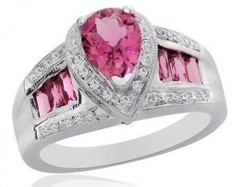2.70 Carat Pink Tourmaline with 0.25 Carat Diamond Ring 14K White Gold