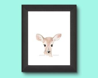 Printable Watercolor Deer - Fawn