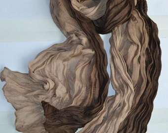 Women's Candy Long Crinkle Soft Scarf Wrap Voile Wraps Shawl - Multi Browns