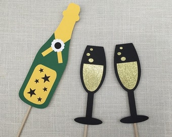 GLITTER Champagne Props / Birthday Props / Celebration Photo Booth Props / Drinks Photo Props / FULLY ASSEMBLED / 3 Piece Set