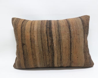brown kilim pillow 16x24 kilim pillow decorative kilim pillow one colour brown kilim pillow sofa pillow turkish kilim pillow SP4060-284