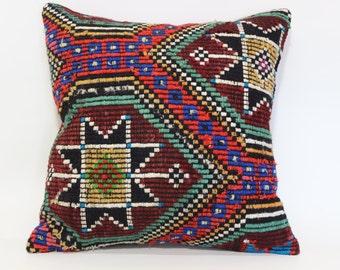 24x24 Handwoven Embroidered Kilim Pillow Ethnic Pilow Cushion Cover Bohemian Kilim Pillow Naturel Kilim Pillow Fllor Pillow  SP6060-947