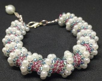 Beaded bracelet, cellini spiral, beaded jewelry, pearl bracelet, beaded rope, beadwork, seed bead bracelet