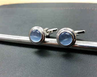 Light Blue Button Cufflinks-k55