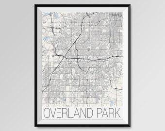 OVERLAND PARK City Map Print, Modern City Poster, Kansas, Black and White Minimal Wall Art for the Home Decor,custom city maps