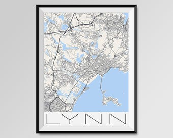 LYNN Massachusetts Map, Lynn City Map Print, Lynn Map Poster, Lynn Wall Art, Lynn gift, Custom city, Personalized Massachusetts map