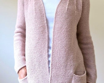 Cardigan-knit jacket, alpaca/silk