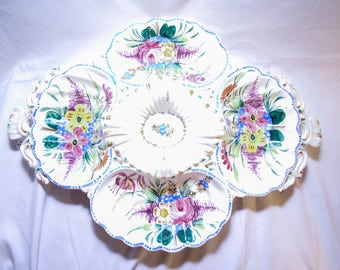 Colorful Hand-Painted Divided Platter Made in Italy