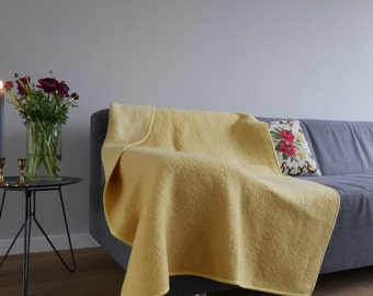 Lovely Yellow Wool Throw Blanket - vintage