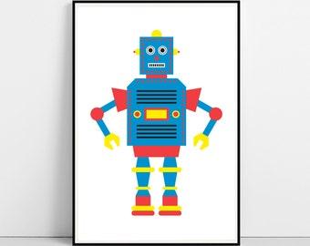 ROBOT Print, Robot Poster, Printable Art, Nursery Decor, Illustration Art, Nursery Wall Art, Boy Prints, Kids Room, Digital Instant Download