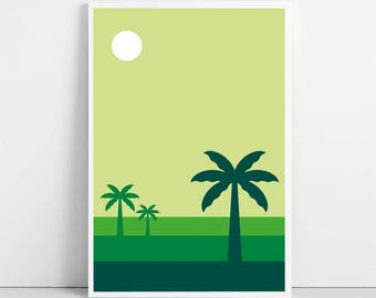 Sunset Colors Print | Digital Illustration | Tropical Landscape Poster | Africa Caribbean | Palm Tree Printable Wall Art | Instant Download