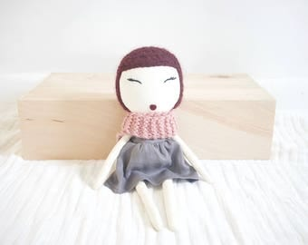 Mini Rag Doll with Burgundy Hair