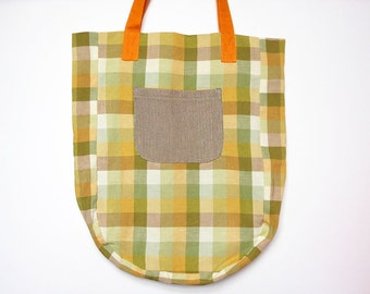 Recycled bag, sustainable, tote bag, upcycled fabric. Green bag, shopping bag, market bag, check pattern, linen bag.