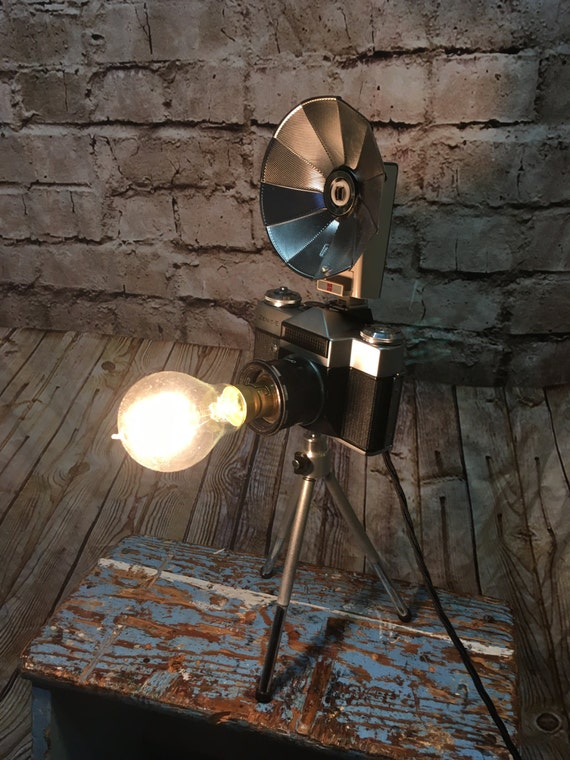 Vintage Camera Table Lamp (with flash ring)