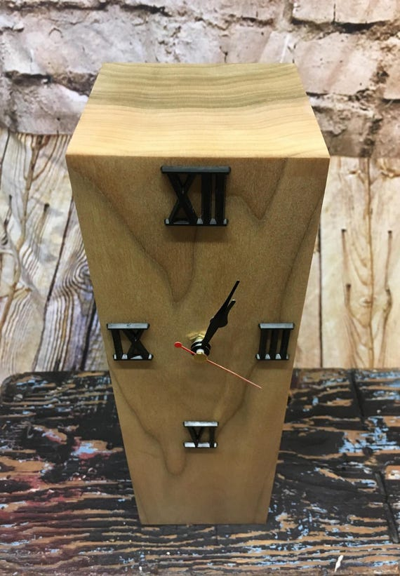 Stylish wood block desk clock