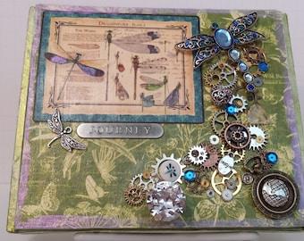 Keepsake box,  mixed media art, steampunk box, recycled cigar box,