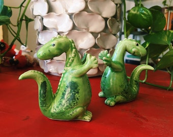 Vintage Green Dinosaurs Salt + Pepper Shakers Made in Japan
