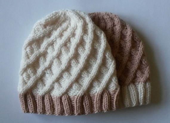 Girl's Aran Beanie in pink & white: handknit original design. Made in Ireland. Matching hats. Girl/teen size. Great gift for sisters! Cute