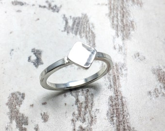 Square Ring, Geometric Ring, Stacking Ring, Stackable Ring, Silver Stacking Ring