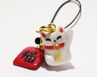 Mini Lucky cat with red packet strap