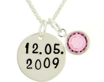 Birthdate Wedding Date Sterling Silver Necklace With Swarovski Birth Month Charm Numeral Pendant Popcorn Chain