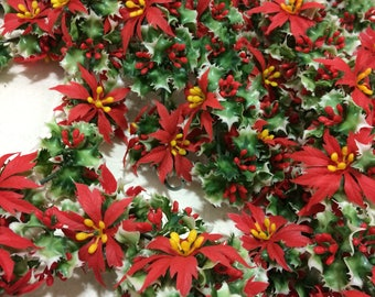 24' Thick and Lush Vintage Plastic Christmas Holly Garland!