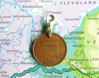 Netherlands Dutch coin charm penny / stuiver birth year 1990 - 1991 - 1992 - 1993 - 1994 - 1995 - 1996 - 1997 - 1998 - 1999 - 2000 pendant