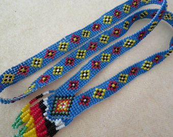 Vintage Native American Indian Beaded Necklace - Antique American Indian