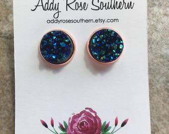 12mm mermaid blue sparkle druzy earrings in rose gold, druzy studs, druzy earrings, druzy jewelry,  rose gold druzy, rose gold earrings
