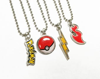 Authentic Pokemon party favors necklaces - ball chain or leather cord - 5+ necklaces are 2.99 each
