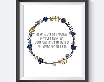 Ravenclaw Wreath Print , Harry Potter Print, Harry Potter Art, Instant Download, Harry Potter, Harry Potter Quote, Digital Print,