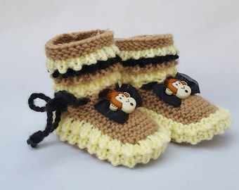 Monkey baby booties, Baby Booties, Baby Gifts, Baby Slippers, Baby Crib Shoes, Baby Moccs, Baby Shoes, Animal Slippers, Monkey Baby Slippers