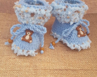 Teddy bear Booties, blue booties. stay on, with ropes, with strings, stays on, ties, stay on booties, booties with ropes