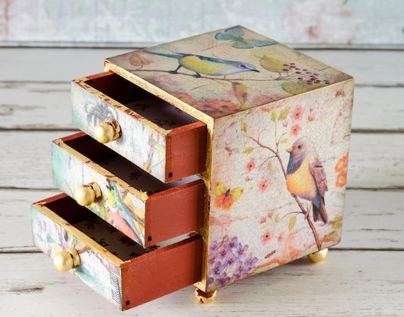 vintage style birds jewellery box shabby chic