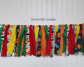 Dinosaur, Fabric Banner, Primary Colors, Highchair, Birthday, Cake Smash, Photo Shoot, Rag Tie, Bunting, Shower, Back Drop