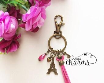 Antique Bronze ' Eiffel Tower' Charm Keychain