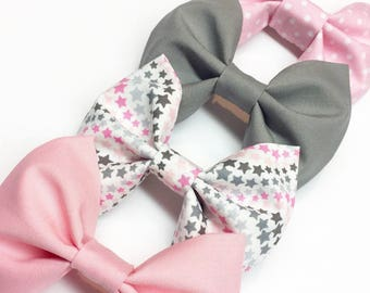 Fabric Bow, Pink Bow, Gray Bow, Girls Bow, Boys Bow Tie, Fabric Hair Bow, Retro Bow, Baby Bow, Bow Tie, Sibling Bow Set, Matching Bows.