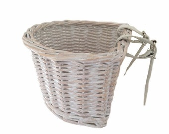 White wash kids childrens bicycle basket