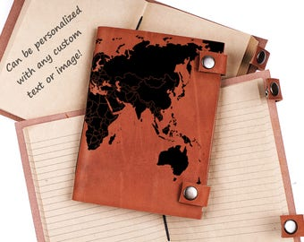 World map journal - leather journal - personalized journal - travel notebook - custom journal - gift for travelers - sketchbook