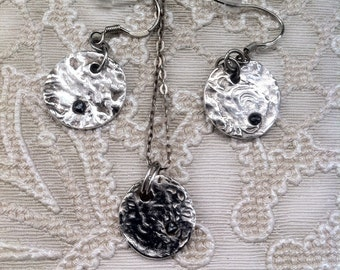 Black rough diamond jewellery set earrings and neclkace/pendant with fine silver pmc pebble impression detail unique one off item