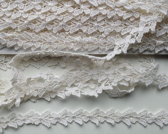 Lace Trim 2 yards narrow trim tiny white butterflies for scrapbooking, cards, clothes, baby coverlet