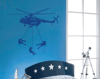 Helicopter decal - wall art, boys bedroom vinyl decal