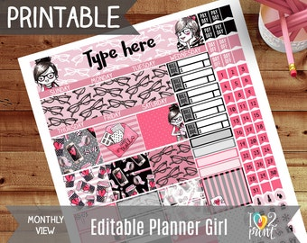 Editable Planner Girl Monthly View Printable Planner Stickers, Erin Condren Planner Stickers, Monthly Overview Stickers, Watercolor/Cut file