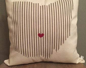 Ohio Pillow, State Pillow, Cream pillow with Navy ticking stripe Ohio, Can do any state or city that you adore!