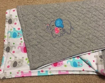Personalized Baby Blankets - Elephants