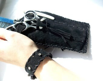 Free shipping,two-sided  leather scissor case, scissors cover,scissors holder,+bracelet gift!