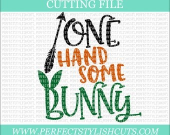 One Handsome Bunny Svg - Easter SVG, DXF, PNG, Eps Files for Cameo or Cricut - Easter Bunny Svg, Peeps Svg, Boy Easter Svg