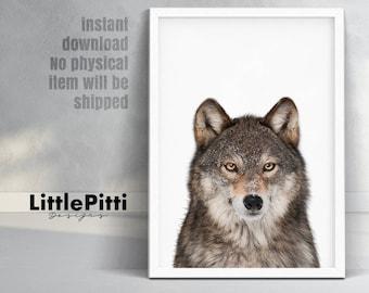 Wolf wall art, wolf print, animal print, wolf printable, wolf gift, nursery printable, woodland wolf, wolf wall print, wolf face, grey wolf